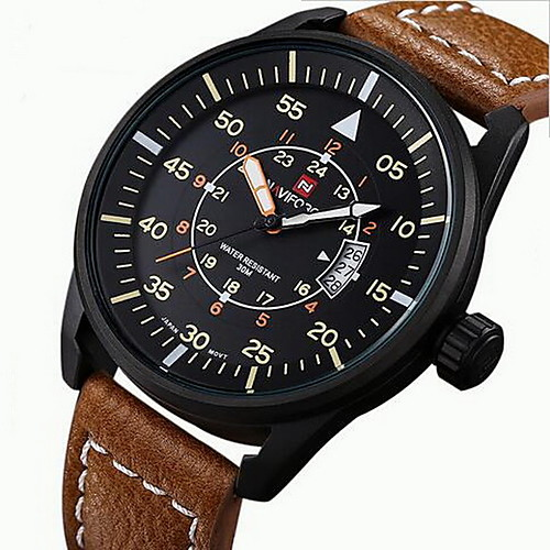 NAVIFORCE Men's Sport Watch Military Watch Wrist Watch Japanese Quartz Leather Black / Brown 30 m Water Resistant / Waterproof Calendar / date / day Noctilucent Analog Casual - Black Brown Two Years
