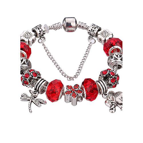 Жен. Стразы Серебрянное покрытие обожаемый Браслеты с подвесками Браслет цельное кольцо Серебряные браслеты - Мода Прочный С бусинами