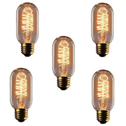 5 шт. 40W E26 / E27 T45 Тёплый белый 2300k Ретро / Диммируемая / Декоративная Лампа накаливания Vintage Эдисон лампочка 220-240V