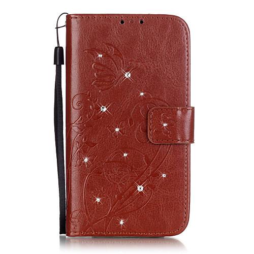 Кейс для Назначение LG LG K4 LG K10 LG K7 LG G5 LG G4 Кейс для LG Бумажник для карт Кошелек Стразы со стендом Флип Рельефный Чехол Цветы кейс для назначение lg k8 lg lg k5 lg k4 lg k10 lg k7 lg g5 lg g4 бумажник для карт кошелек со стендом флип чехол сплошной цвет твердый