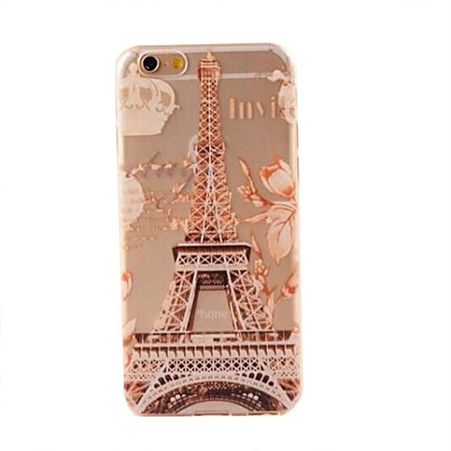 Для Кейс для iPhone 6 / Кейс для iPhone 6 Plus Полупрозрачный / С узором Кейс для Задняя крышка Кейс для Эйфелева башня Мягкий TPUiPhone