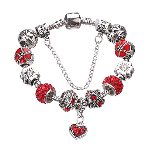 Women's Beaded Beads Charm Bracelet Bead Bracelet Rhinestone Silver Plated Imitation Diamond Heart Love Luxury European Fashion Bracelet Jewelry Red / Green / Blue For Party Daily Casual