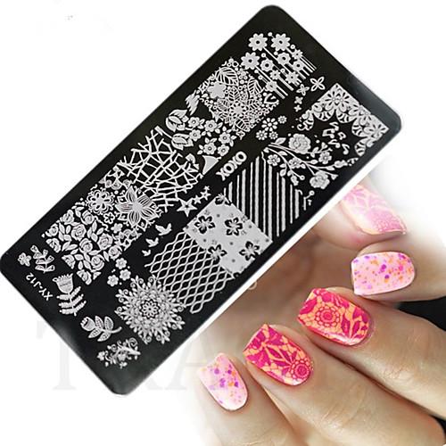 1 pcs Штамповка плиты шаблон Стиль / Мода Дизайн ногтей Модный дизайн Повседневные / Металл