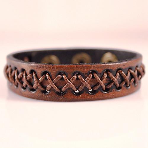 Муж. Кожа обожаемый Кожаные браслеты Wrap Браслеты - Богемные Ручная Pабота Мода Геометрической формы Черный Коричневый Браслеты браслеты