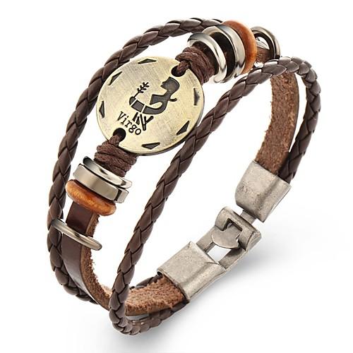 Муж. Кожаные браслеты - Кожа Панк Браслеты J / K / L Назначение Повседневные муж strand браслеты кожаные браслеты кожа браслеты черный коричневый назначение повседневные