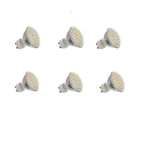 6шт 4W 300lm GU10 Точечное LED освещение Утапливаемое крепление 60 Светодиодные бусины SMD 3528 Декоративная Тёплый белый Холодный белый