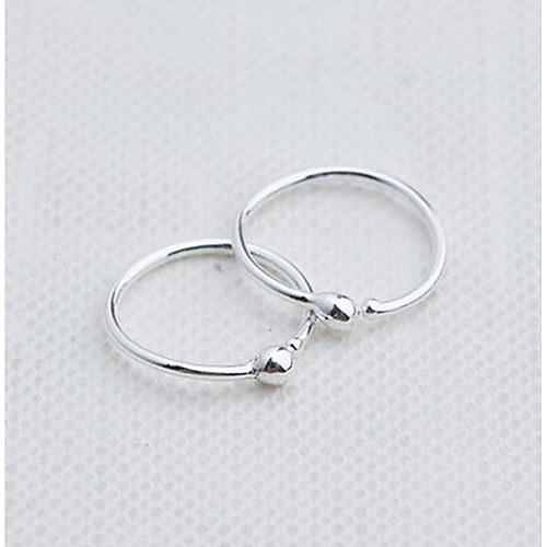 Жен. Стерлинговое серебро Серьги-кольца - Мода Серебряный Круглый Серьги Назначение Повседневные