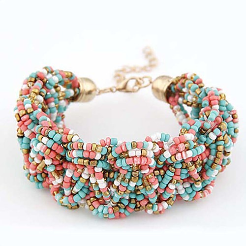 Women's Girls' Chain Bracelet Charm Bracelet Bead Bracelet Resin Ladies Personalized Vintage Bohemian European Bracelet Jewelry Golden / Light Blue / Rainbow For Wedding Party Daily Casual Sports