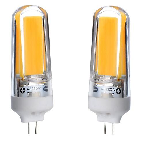 2pcs 3W 300-350lm G4 Двухштырьковые LED лампы T 1 Светодиодные бусины COB Диммируемая Водонепроницаемый Декоративная Тёплый белый