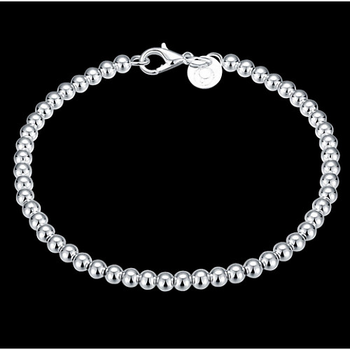 Women's Beaded Crossover Chain Bracelet Charm Bracelet Sterling Silver Ladies Classic Bracelet Jewelry Silver For Christmas Gifts Wedding Party Daily Casual