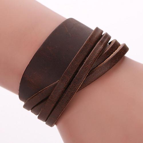 Муж. Жен. Кожа обожаемый Кожаные браслеты Wrap Браслеты - Богемные Ручная Pабота Мода Геометрической формы Черный Кофейный Браслеты браслеты