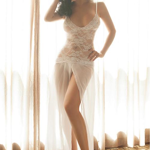 Жен. Сексуальные платья Ультра-секси Ночное белье - Кружева Жаккард / V-образный вырез