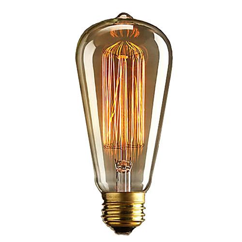 1шт 40W E27 E26 / E27 E26 ST64 Тёплый белый 2300k Лампа накаливания Vintage Эдисон лампочка 110-220V 220-240V