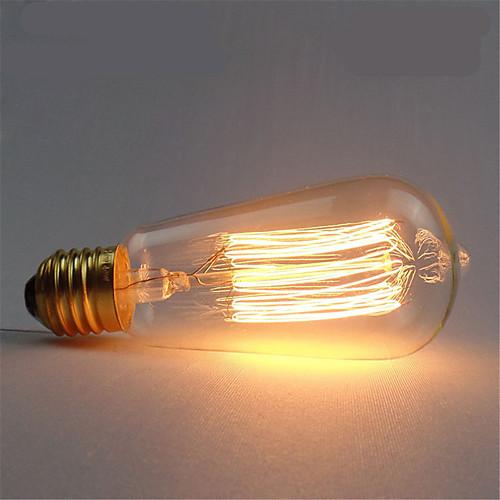 1шт 40W E26 / E27 ST58 Тёплый белый 2300k Ретро / Диммируемая / Декоративная Лампа накаливания Vintage Эдисон лампочка 220-240V