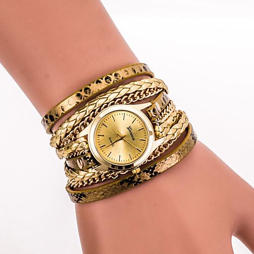 Жен. Кварцевый Наручные часы / Часы-браслет Cool PU Группа Винтаж / На каждый день / Богемные / Мода Черный / Белый / Синий / Серебристый браслет avgad цвет золотистый черный белый br77kl97
