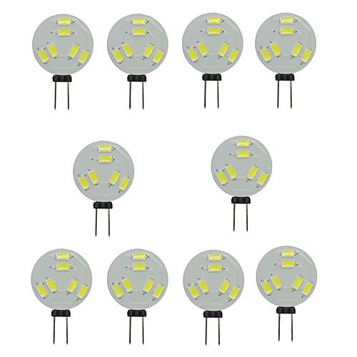 10 шт. 1.5W 150-200lm G4 Двухштырьковые LED лампы T 6 Светодиодные бусины SMD 5730 Декоративная Тёплый белый Холодный белый 12V