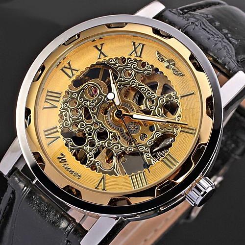 WINNER Муж. Часы со скелетом Наручные часы Механические часы Механические, с ручным заводом Стеганная ПУ кожа Черный С гравировкой Cool Аналоговый фото