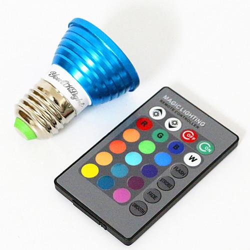 YouOKLight 3W 200-250lm E26 / E27 Точечное LED освещение MR16 1 Светодиодные бусины Высокомощный LED Декоративная RGB 85-265V