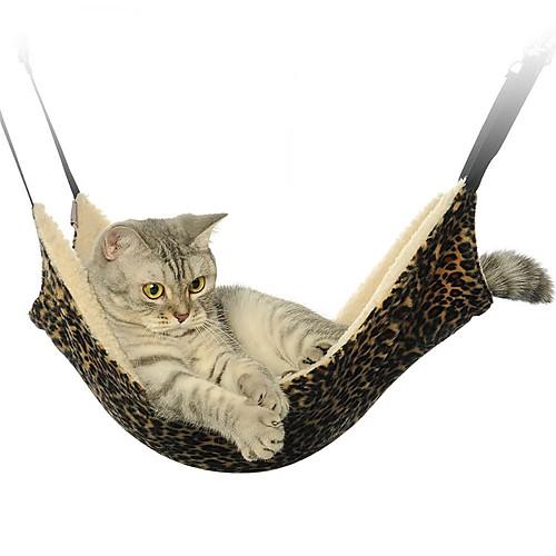 Кошка Кровати Животные Коврики и подушки Складной Леопардовый принт Зебра На каждый день Черный Белый Коричневый Флис
