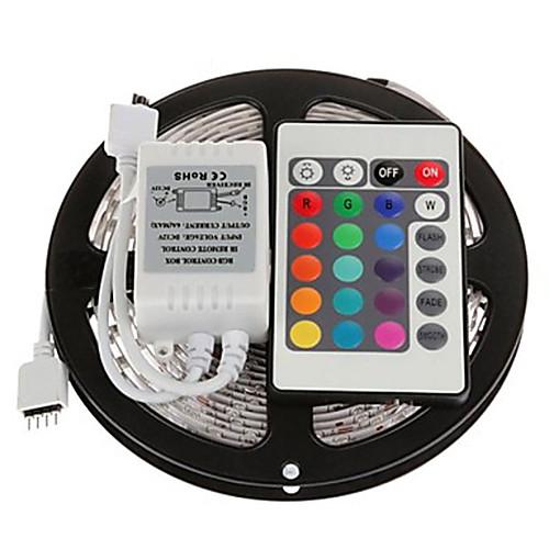 5 метров Наборы ламп 300 светодиоды RGB Пульт управления Можно резать Диммируемая Меняет цвета Самоклеющиеся Компонуемый 12V