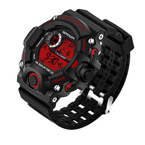 SANDA Men's Sport Watch Smartwatch Wrist Watch Digital Japanese Quartz Silicone Black 30 m Water Resistant / Waterproof Chronograph LED Digital Luxury Casual Fashion - Red Blue Jade One Year Battery