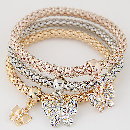 Women's Layered Stack Stacking Stackable Charm Bracelet Rhinestone Imitation Diamond Butterfly Animal Ladies Luxury European Simple Style Fashion Bracelet Jewelry Rainbow For Gift Daily