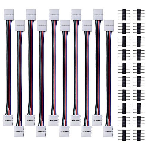 10pcs водить 5050 света прокладки RGB разъем 4 проводника шириной 10 мм полосы раздеться перемычку с 20шт штыревое 4-контактный разъем для