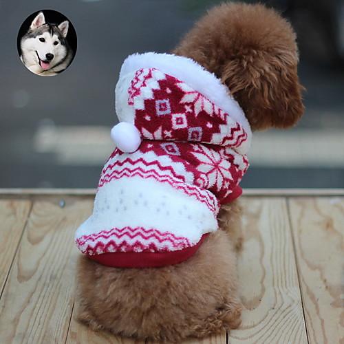 Кошка Собака Плащи Толстовки Одежда для собак В снежинку Коричневый Красный Синий Хлопок Костюм Для домашних животных Муж. Жен. Сохраняет кошка собака свитера одежда для собак однотонный коричневый сукно костюм для домашних животных муж жен