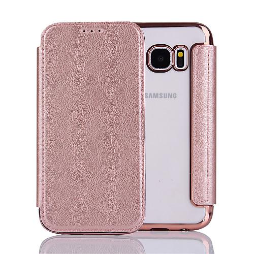 Кейс для Назначение SSamsung Galaxy S7 edge S7 Флип Чехол Сплошной цвет Твердый Кожа PU для S7 edge S7 S6 edge S6 лампа f0 f3 l3 s7 s6