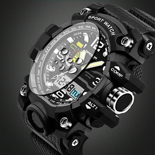 SANDA Men's Sport Watch Wrist Watch Quartz Black 30 m Water Resistant / Waterproof Alarm Calendar / date / day Analog Casual Bangle Fashion - Yellow Red Green / Luminous / Stopwatch / Noctilucent