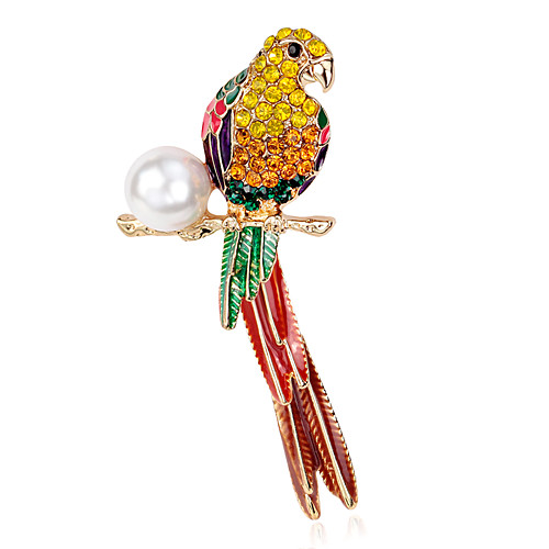 Women's Brooches Flower Parrot Ladies Luxury Pearl Brooch Jewelry Rainbow For Party Daily Casual