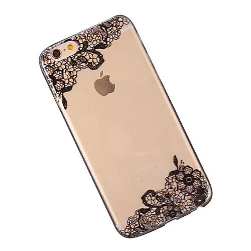 Кейс для Назначение Apple iPhone 6 iPhone 6 Plus Прозрачный С узором Кейс на заднюю панель Кружева Печать Мягкий ТПУ для iPhone 6s Plus