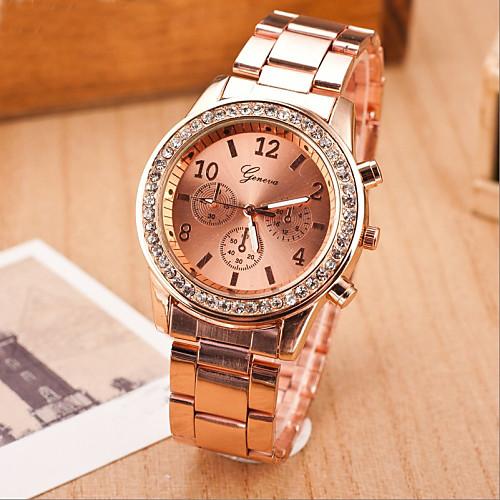 Geneva Жен. Наручные часы Diamond Watch золотые часы Кварцевый Серебристый металл / Золотистый / Розовое золото Повседневные часы Аналоговый Дамы Мода Элегантный стиль - / Один год / Один год фото