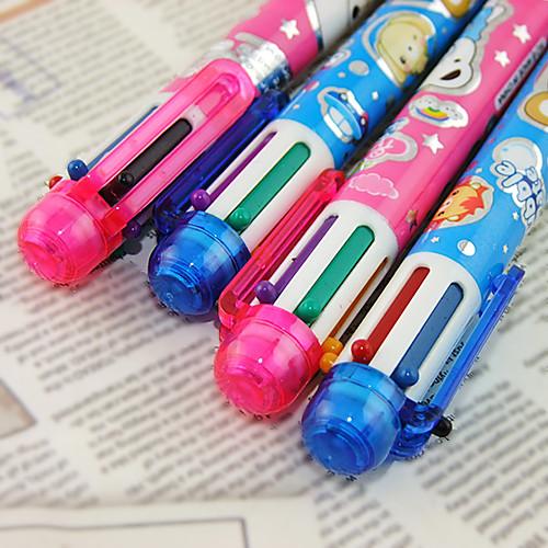 Ручка Ручка Шариковые ручки Ручка, пластик Красный Черный Синий Желтый Лиловый Зеленый Цвета чернил For Школьные принадлежности Офисные