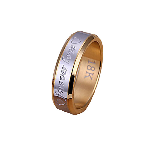 Men's Band Ring Groove Rings Gold / Silver Stainless Steel Silver Plated Alloy Christmas Gifts Wedding Jewelry Two tone Heart