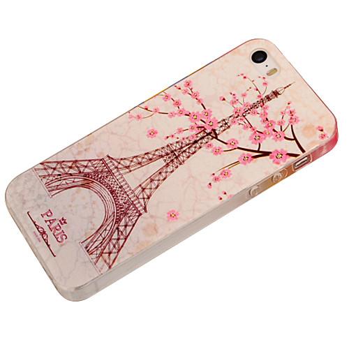 Для Кейс для iPhone 5 С узором / Рельефный Кейс для Задняя крышка Кейс для Эйфелева башня Мягкий TPU iPhone SE/5s/5