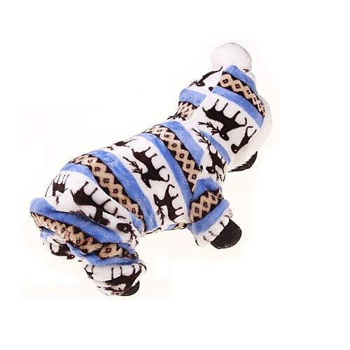 Собака Толстовки Комбинезоны Одежда для собак Цветочные / ботанический Синий Фланель Костюм Для домашних животных Муж. Жен. Сохраняет куртка синяя 23 разм l