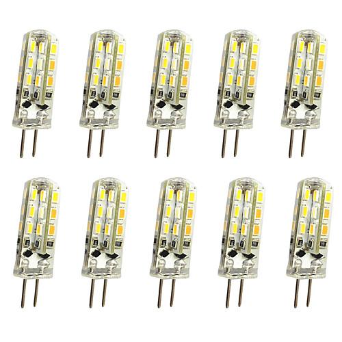 10 шт. 1W 120lm G4 Двухштырьковые LED лампы T 24LED Светодиодные бусины SMD 3014 Декоративная Тёплый белый / Холодный белый 12V