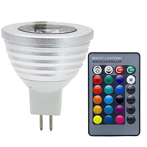 3W 280lm GU5.3(MR16) Точечное LED освещение MR16 1 Светодиодные бусины COB Диммируемая Декоративная На пульте управления RGB 12V