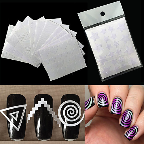 12pcs Трафарет для маникюра Шаблон шаблона для ногтей Повседневные Мода Высокое качество