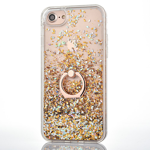 Case For iPhone XR XS XS Max Flowing Liquid / Ring Holder Back Cover Glitter Shine Hard PC for iPhone X 8 8 Plus 7 7plus 6s 6s Plus SE 5 5S