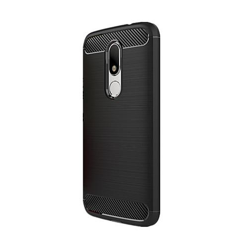 Кейс для Назначение Motorola Защита от удара Кейс на заднюю панель Сплошной цвет Мягкий Углеродное волокно для Мото G4 Plus Moto G4 Play