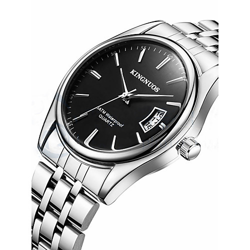 Men's Wrist Watch Quartz Stainless Steel Silver Calendar / date / day Cool Analog Casual Fashion - White Black One Year Battery Life / SSUO LR626