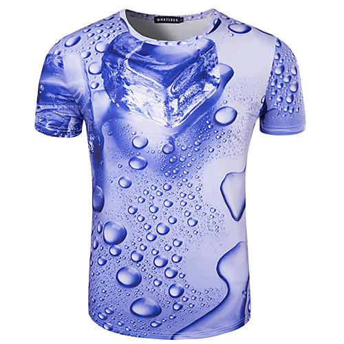 Men's Daily Sports Formal Basic Cotton Slim T-shirt - 3D Print Round Neck Blue L / Short Sleeve / Summer