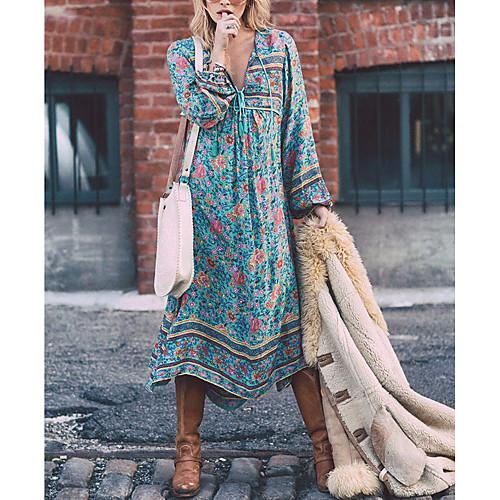 Women's Boho Plus Size Holiday Boho Swing Dress - Floral Blue, Print Deep V Spring Light Blue XXXL XXXXL XXXXXL / Loose