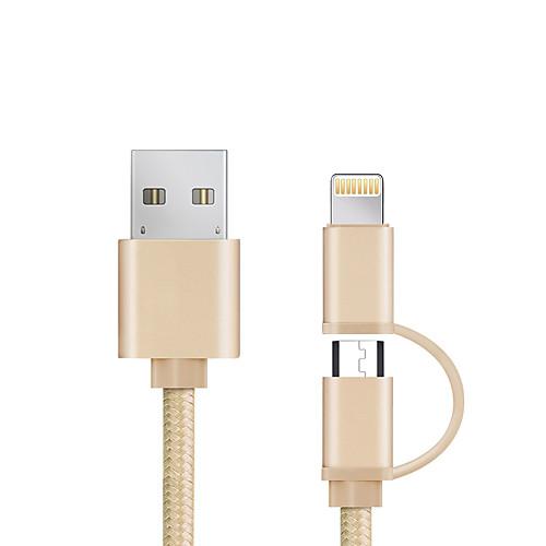USB 2.0 Адаптер USB-кабеля Все в одном Плетение Кабель Назначение iPad Samsung Apple Lenovo Xiaomi HTC Sony iPhone 98 cm Алюминий Нейлон