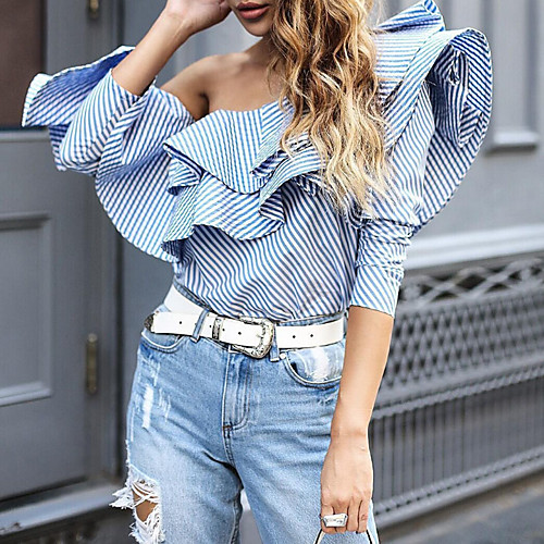 Women's Party Daily Street chic Butterfly Sleeves Cotton Loose Shirt - Striped Ruffle Off Shoulder Blue S / Spring / Fall