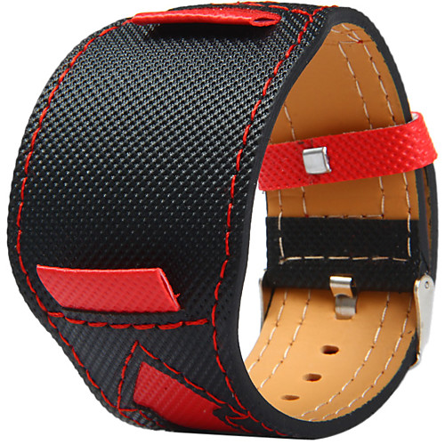 Canvas leather Watch Band Strap for Black 20cm / 7.9 Inches 2cm / 0.8 Inches