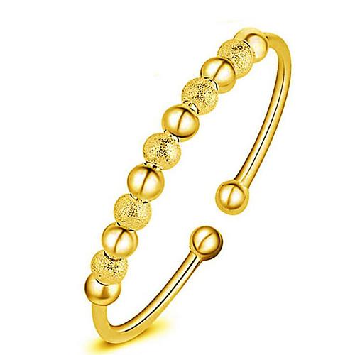 Жен. Серебрянное покрытие Позолота Золото 18K Браслет разомкнутое кольцо - Мода Круглый Золотой Серебряный Браслеты Назначение Новогодние