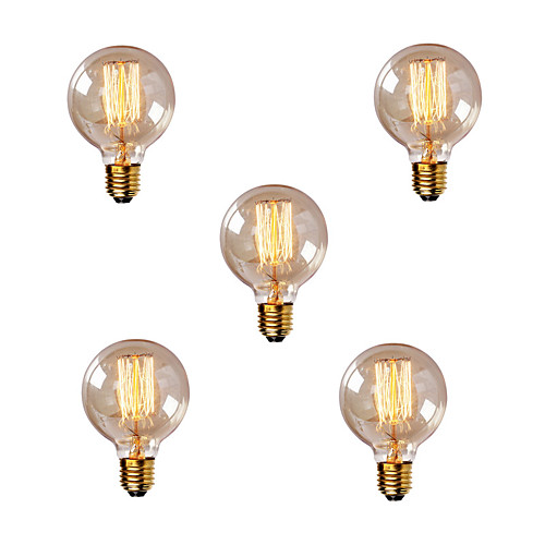 5 шт. 40W E26 / E27 G80 Тёплый белый 2200-2700k Ретро Диммируемая Декоративная Лампа накаливания Vintage Эдисон лампочка 220-240V